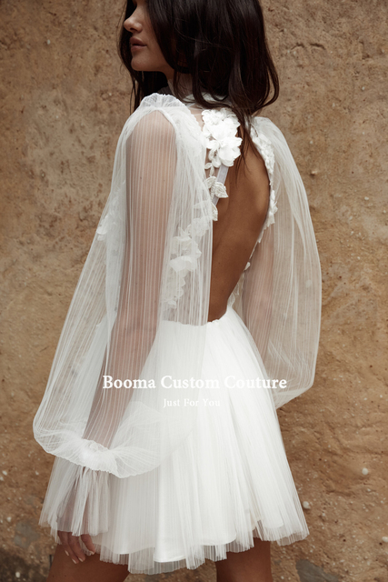 Booma Simple Backless Short Wedding Dresses Long Sleeves Pleated Tulle Mini Bride Dresses Flowers Illusion Civil Wedding Gowns 3