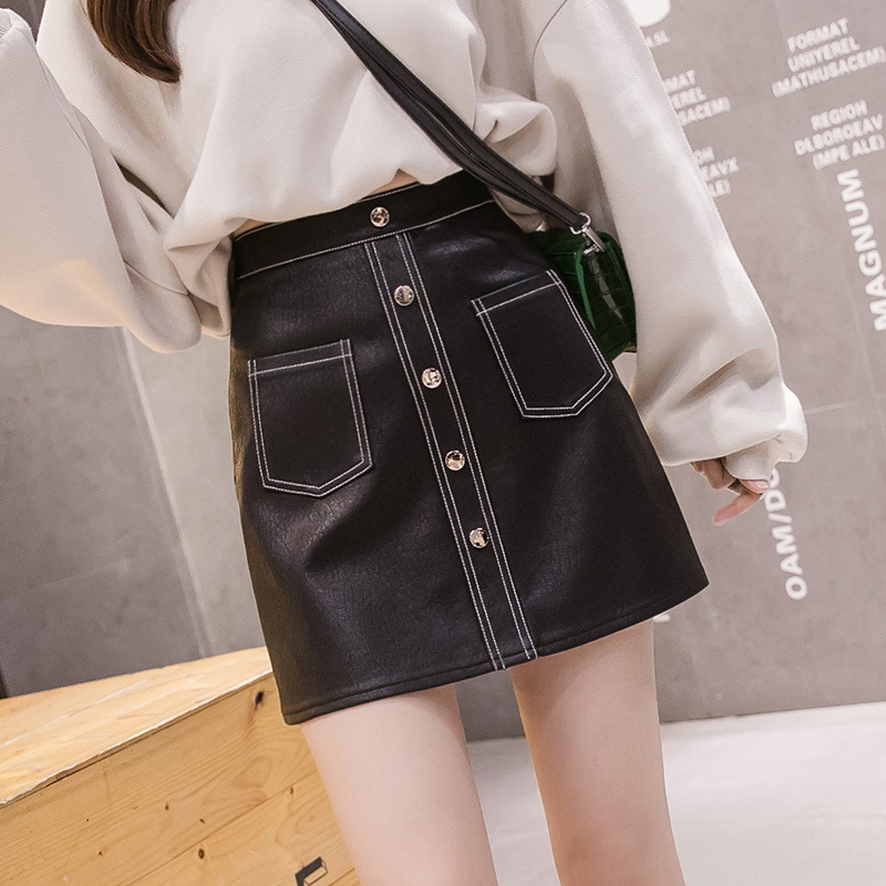 High Waisted Single Breasted Leather Skirt Women For Spring 2020 Winter Slim Pu Short Skirts Women A-line Punk Rock Black Skirt
