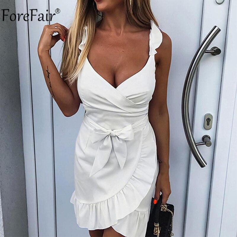 Forefair women casual Plaid Dress vintage ruffle backless wrap Sexy Dresses Sleeveless v neck tie waist Mini Summer dress 2019 3