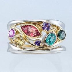 Urok kobieta Rainbow kryształowy pierścionek z kamienia luksusowe złoto srebro kolor obrączki dla kobiet Trendy geometria duży pierścionek zaręczynowy