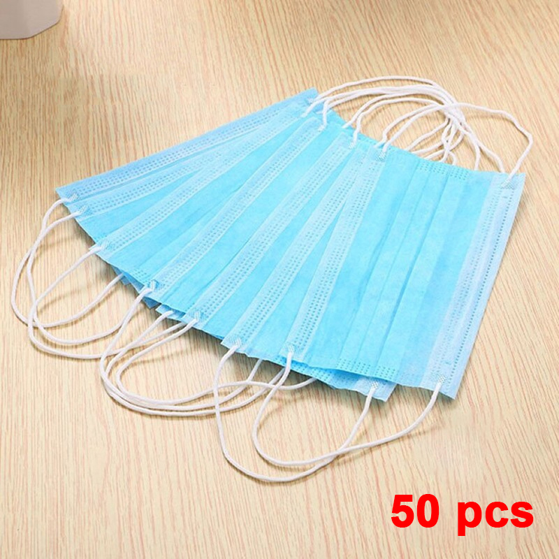 Spot 50pcs Disposable Face Mask Anti-dust Anti-fog Mouth 3-layer Non-woven Mask Disposable Surgical Mouth Earloops Mask
