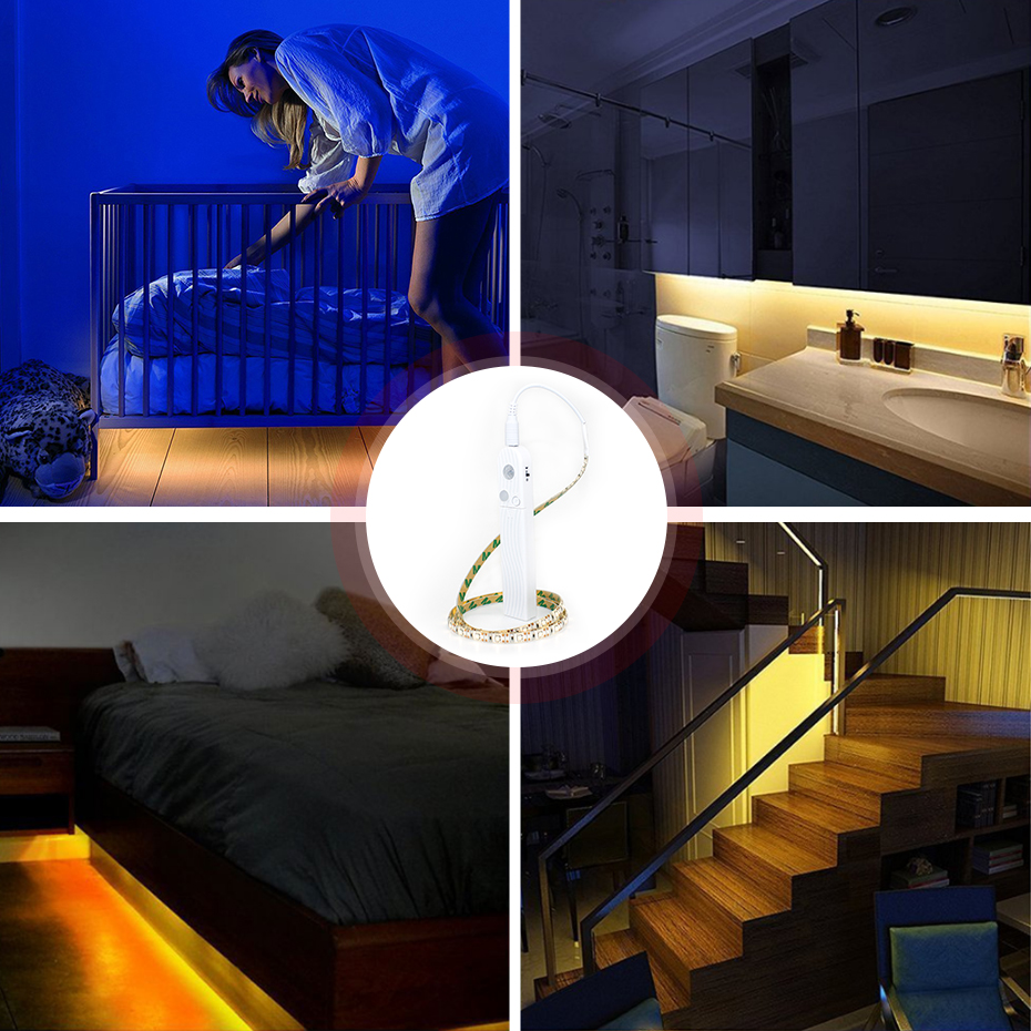 PIR Motion Sensor LED Cabinet Strip Tape Cabine 1m 2m 3m 4m 5m For Closet Wardrobe Stairs  Battery Power Background Light