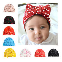 Sweet Dot Baby Girl Hat with Bow Candy Color Baby Turban Cap for Girls Elastic Infant Accessories(China)