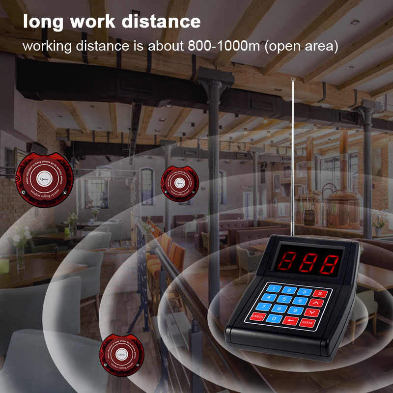 RETEKESS SU-668 999 Channel Restaurant Pager Wireless Paging Queuing Calling System 40 Coaster Pagers call customer