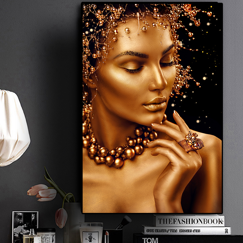 Sexy Nude African Art Black and Gold Woman Oil Painting on Canvas Cuadros Posters and Prints Wall Art Picture for Living Room title=