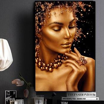 Sexy Nude sztuka afrykańska czarno-złota kobieta obraz olejny na płótnie Cuadros plakaty i druki obraz ścienny do salonu