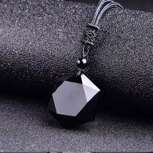 Factory price Genuine Natural Obsidian Stone Pendants Six Stars Pendant Energy Necklace Sweater Chain Fashion Jewelry