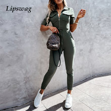 Sexy Turn-down Collar Office Ladies Jumpsuit Women Zipper Romper Spring Belted Bodysuit Summer Short Sleeve Cargo Pants Overall