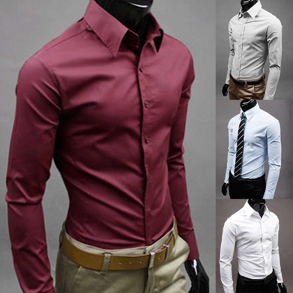 브랜드 남자 100% 코 튼 긴 소매 남자 드레스 셔츠 남자 솔리드 컬러 비즈니스 긴 소매 단추 아래로 칼라 셔츠 위로