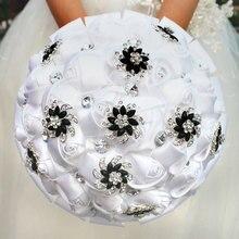 Wifelai Un Bianco Puro Del Fiore Della Rosa Nero Spilla Bouquet da Sposa Buque De Noiva Nuziale di Cristallo Bouquet da Sposa Fiori su Misura