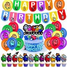 Entre nós festa de aniversário decoração crianças balão de látex banner bolo toppers anime jogo tema feliz aniversário decoração suprimentos