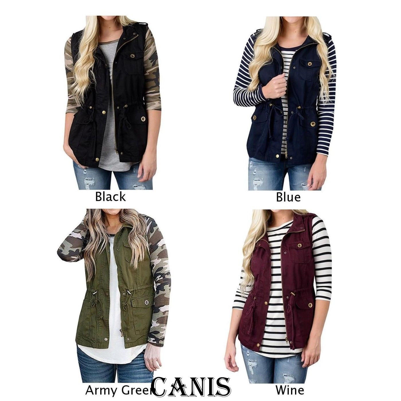 Women Coats Women Jacket Vest Cargo Utility Safari Vest W/Pockets Drawstring Army Top Bomber Jacket Coat