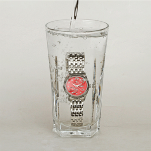 Image 5 - WWOOR reloj rojo de marca de moda para mujer, reloj de pulsera informal para mujer, reloj de acero inoxidable con fecha de cuarzo, reloj para mujer