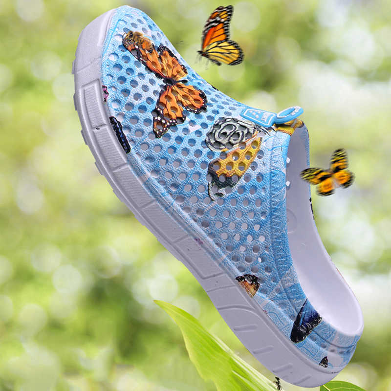 Eenvoudige vrouwen Koppels Unisex Hollow Out Non-slide Slippers Strand Outdoor Ademend Ronde Neus Ondiepe Casual Solid Schoenen