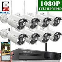 OOSSXX 8CH 1080 P sans fil NVR Kit système de caméra de vidéosurveillance sans fil 2.0MP intérieur extérieur IP67 IP caméra P2P système de Surveillance vidéo