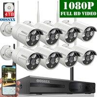 OOSSXX беспроводная система безопасности, 8CH 1080P NVR комплект, 8 шт 1080P (2,0 м) наружная беспроводная ip-камера видеонаблюдения