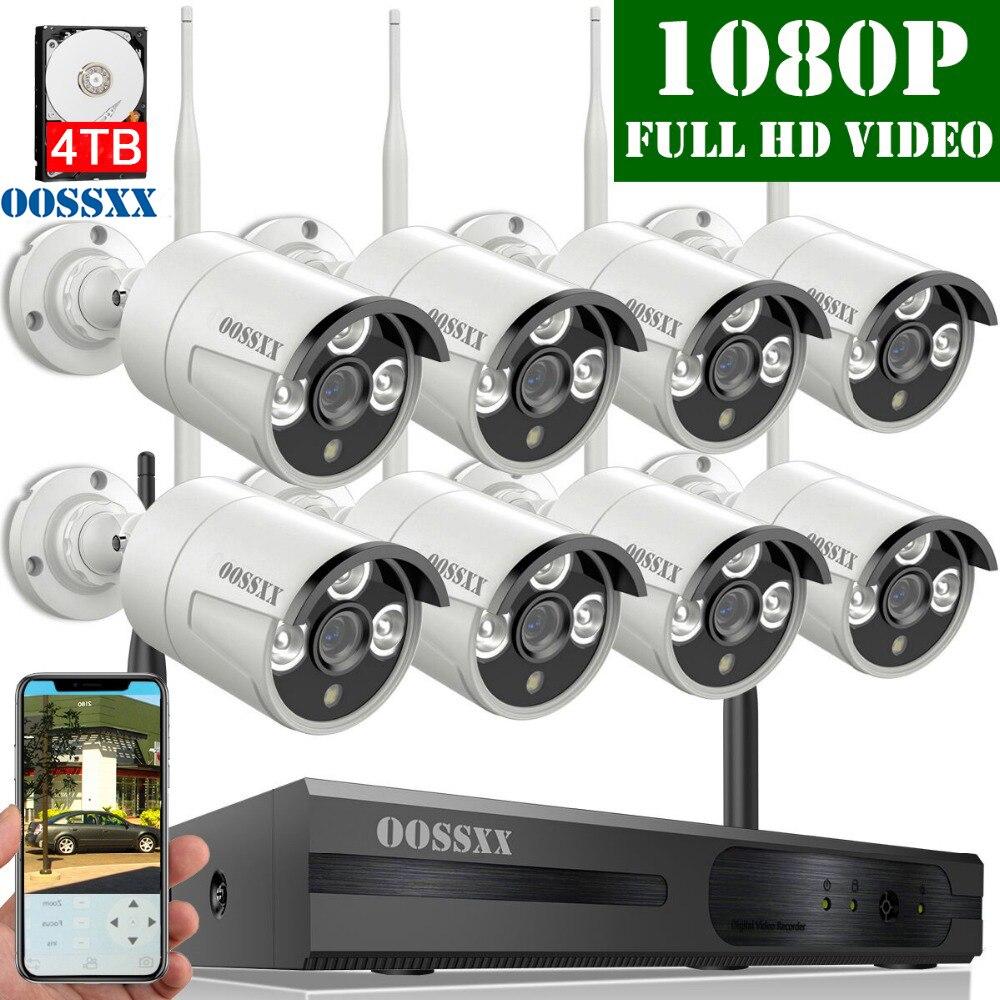 Système de caméra de sécurité OOSSXX sans fil, Kit NVR 8CH 1080 P, 8 pièces 1080P (2.0 M) caméra IP sans fil CCTV extérieure Surveillance vidéo