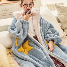 Winter Women Robes Star Sleepwear Blue Pink Casual Flannel Home Warm Female Coral Velvet Lovely Loose Long Bath Bathrobe Femme