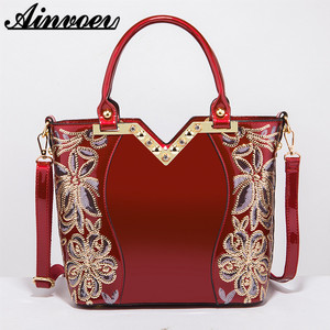 Image 3 - Ainvoev 핸드백 여자 수 놓은 광택 숄더 가방 지갑 여성 럭셔리 핸드백 여자 옻칠 PU 가죽 가방 여성을위한