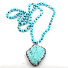 Collar con colgante de piedra azul pavimentada con Largo anudado de piedras, joyería Tribal Bohemia a la moda