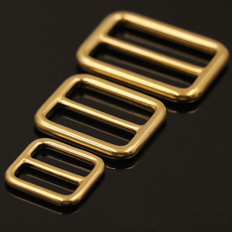 1 x Solid Brass Rectangular Adjuster Buckle Cast Tri Glide Slide Backpack Strip webbing  leather craft Bag Shoulder Strap Belt