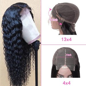 Ross Pretty Brazilian Deep Wave Lace Front Remy Hair Wigs For Black Women Pre Plucked 13x4 Lace Frontal And 4x4 Closure Wig
