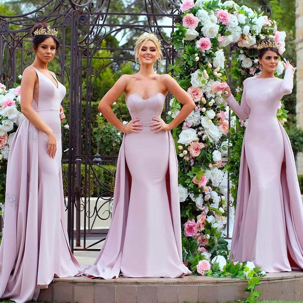 Elegant Light Purple Long Sleeve Bridesmaid Dresses Mermaid Satin Detachable Train Applique Sequins Maid of Honor Gowns