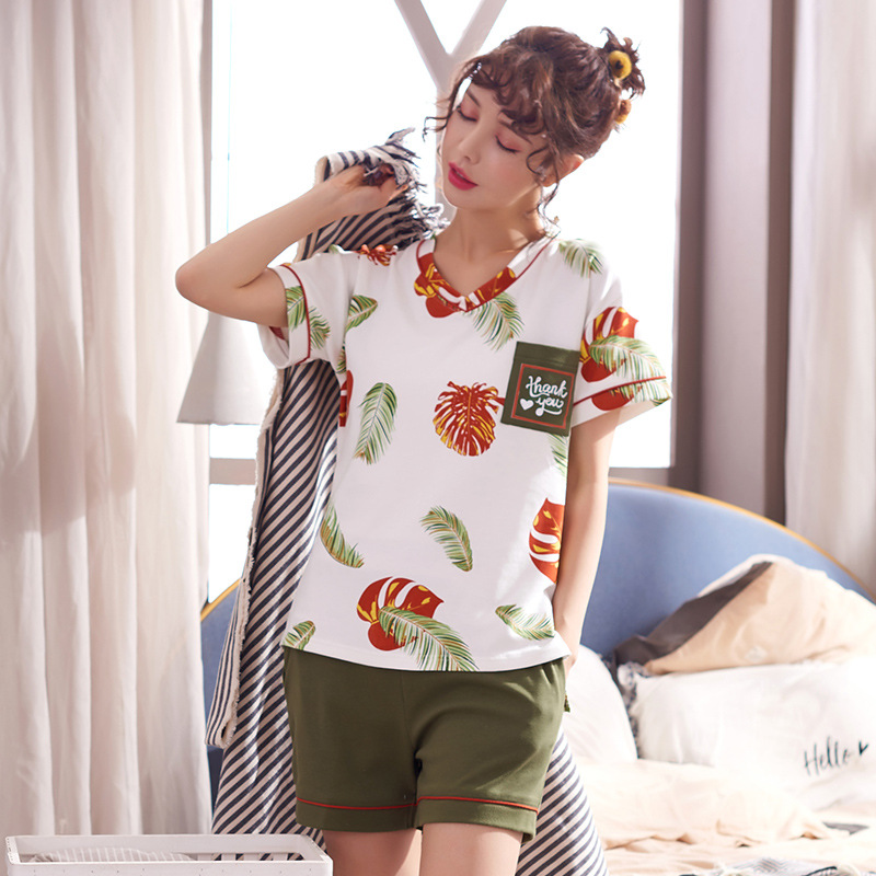 6225 # Red And Green Maple Leaf Pullover FN Short Sleeve Shorts Pajamas Homewear Set Series