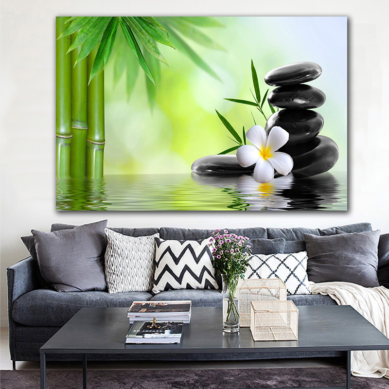 Modern Zen Giclee Canvas Prints Perfect Bamboo Green Pictures on Canvas Wall Painting Art for Home Office Decorations No Frame