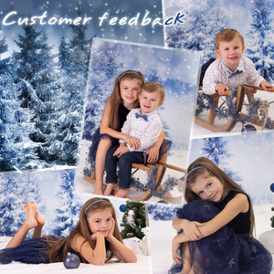 Image 2 - Funnytree photo background christmas backdrop studio winter photophone snow forest pine nature view bokeh photobooth photocall