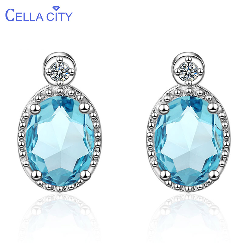 Cellacity Classic Silver 925 Earrings For Women With Oval Aquamarine Shaped Gemstones Jewerly Engagement Party Gift Wholesale