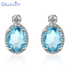 Cellacity Geometry Aquamarine Ear drops Silver 925 Jewelry Oval shaped Gemstones Earrings for Women Engagement Gift Wholesale(China)
