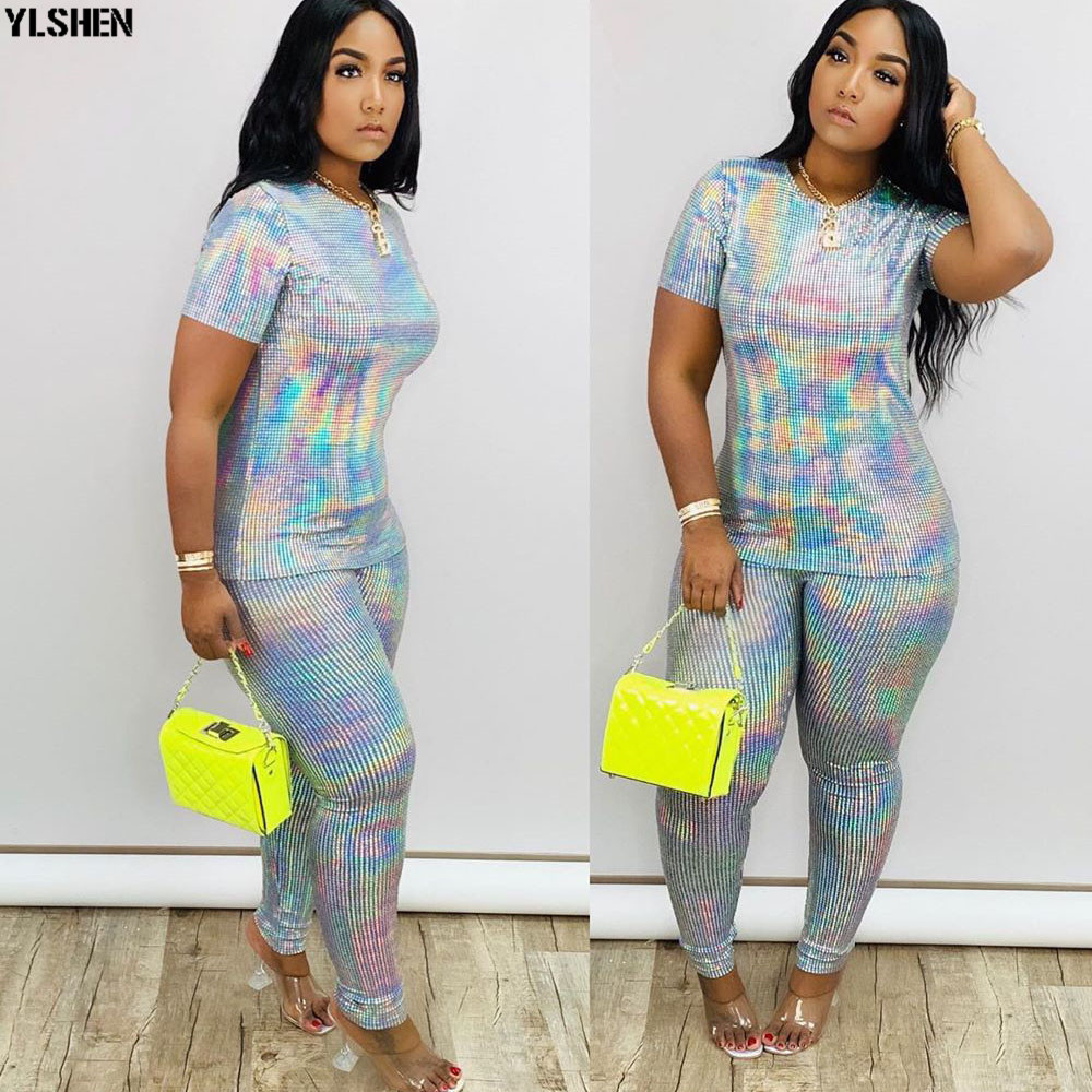 2 Two Piece Set Women African Clothes Dashiki Fashion Sequins Suit (Top And Pants) Super Elastic Party Plus Size Suits For Lady