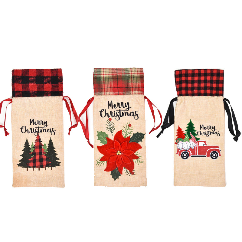 1pc Linen Christmas Red Wine Bottle Covers Bag Holiday Santa Claus Champagne Bottle Cover Christmas Decorations For Home To Produce An Effect Toward Clear Vision