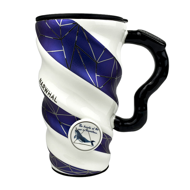 Creative Blue European-style Ceramic Coffee Mug 500ml Large Capacity Office Cup for Boys and Girls and Home Cup Spoon with Lid 1