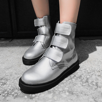 Rimocy winter fashion silver ankle boots women hook loop flat black leather shoes woman brand design punk round toe botas mujer