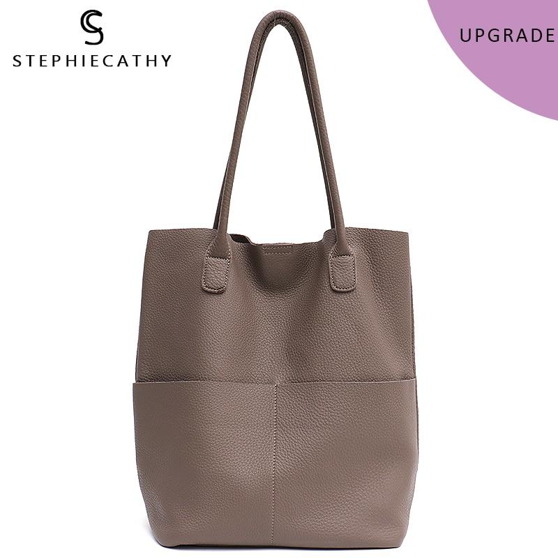 SC Brand Women Genuine Leather Shoulder Bags Causal Vintage Soft Cowhide Skin Handbag Shopping Bucket Liner Bag High Quality