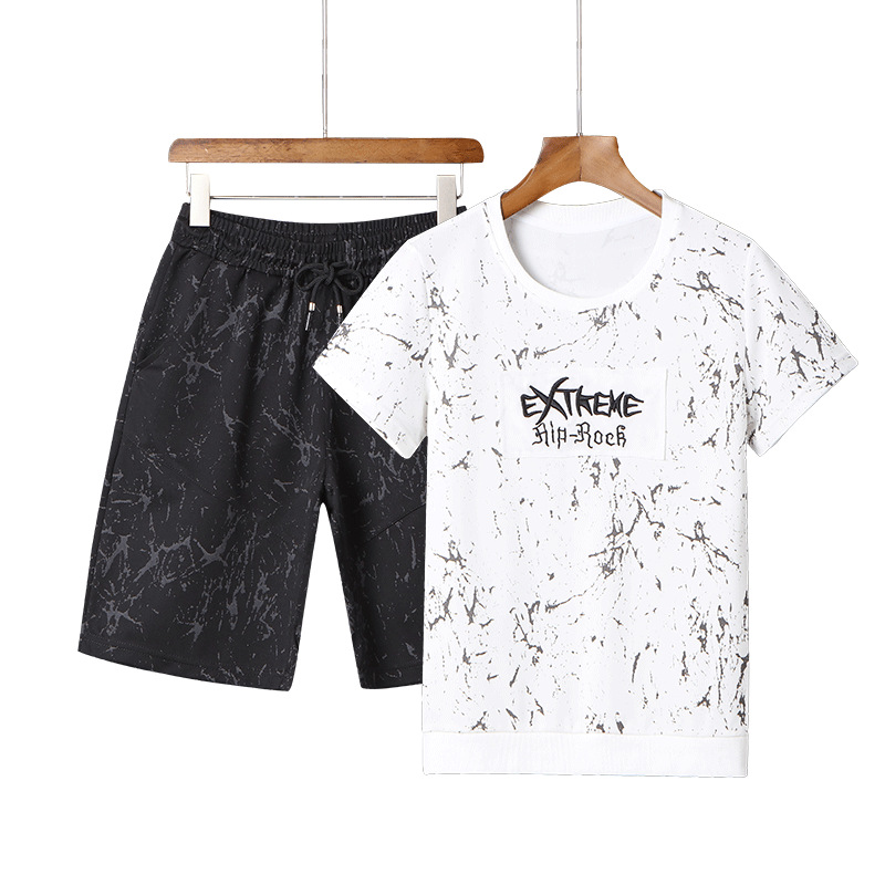 Summer Men Crew Neck Printed Lettered Short Sleeve T Shirt Two-Piece Set Large Size Leisure Sports Suit Men's