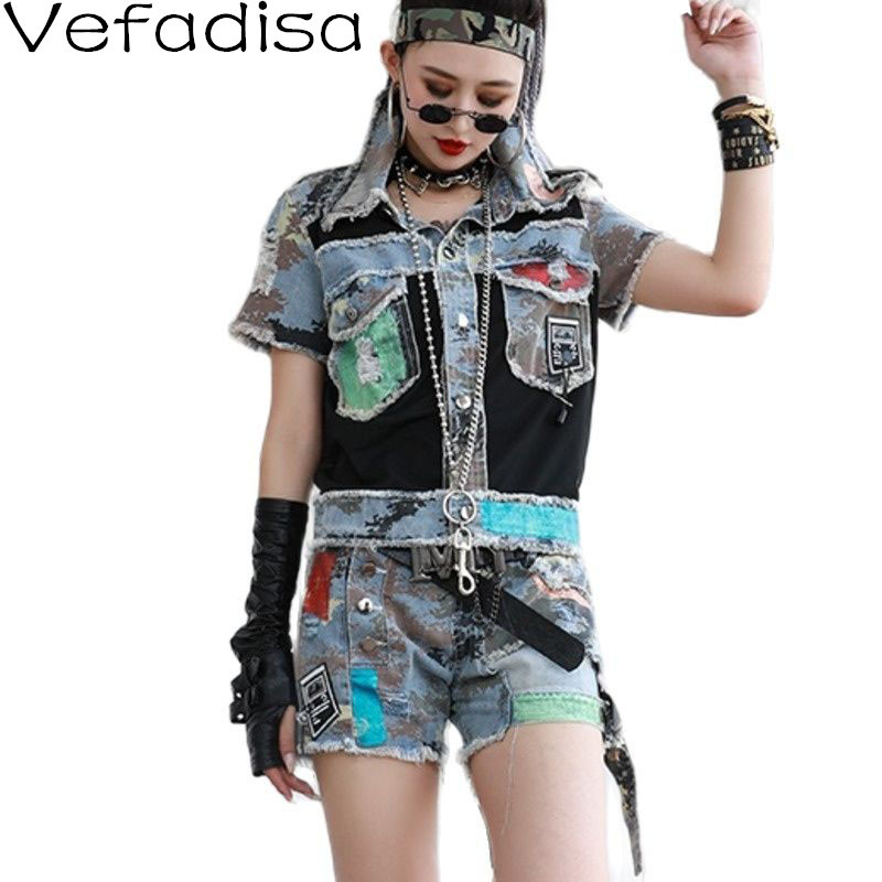 Vefadisa Summer Mesh Patchwork Camouflage Set Women 2021 Short Sleeve Female Blouse + Spliced Shorts Casual Short Sets QYF5769