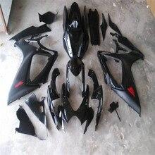 Подходит для SUZUKI black GSXR 600 750 обтекатель комплект K6 2006 2007 GSX-R600 GSX-R750 06-07 Черный набор обтекателей на заказ