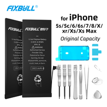 FIXBULL Original Phone Battery For iPhone 5s 5c 6 6s 7 8 X Xr Xs Max Replacement Internal Bateria For iPhone8 iPhone6s Tools Kit цена и фото