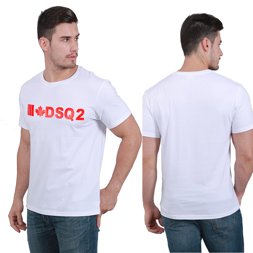 dsq brand summer style 100% cotton men black T-shirt casual O-Neck T-shirt short sleeve tees white letter T-shirt for men dt2002