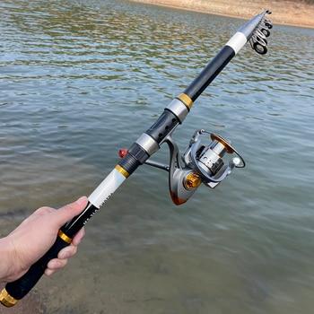 Ghotda Carbon Fibre Telescopic Fishing Rod Reel Combo