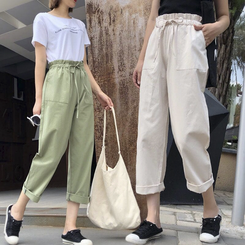 Cotton Casual Style Loose Light Female Pants Streetwear Sporty Regular Drawstring Elastic Waist Trousers For Everyday Wear