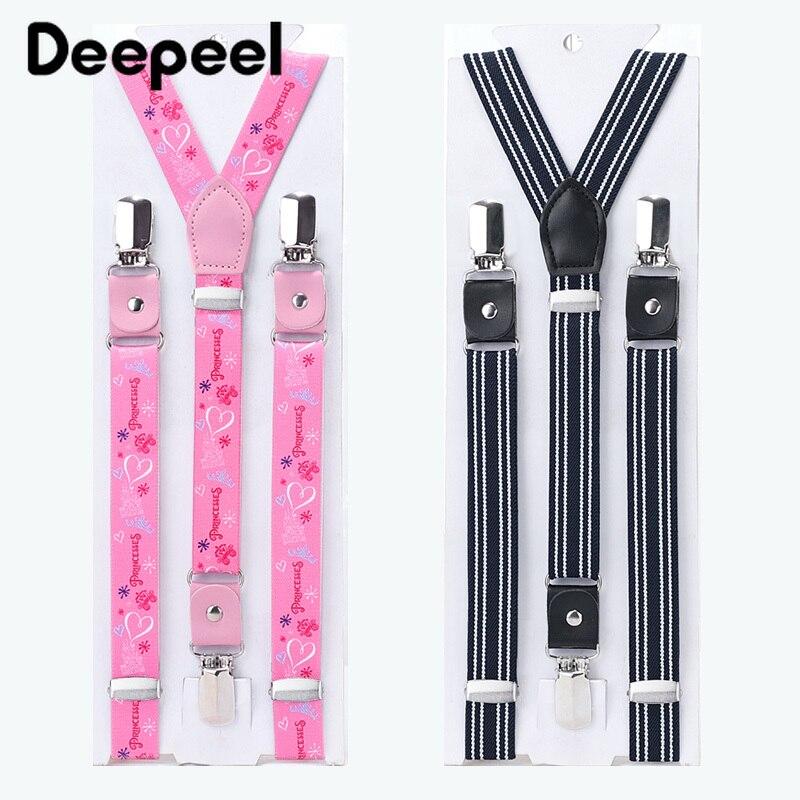 Deepeel 1pc 20/25mm Child Adjustable Elastic Band Suspenders Unisex Adult Strap Cartoon 3 Clips Rubber Band Elastic Suspenders