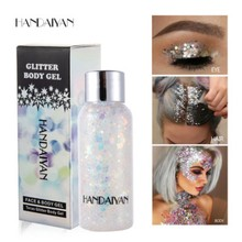 HANDAIYAN Holographic Mermaid Glitter Eyeshadow Gel Body Eyes Face Cosmetics Liquid Sequins Pigments Makeup Cream Festival Gems