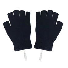 Practical Winter USB Electric Heating Thermal Gloves Half Finger Mountain Bike Bicycle Cycling Durable Sports