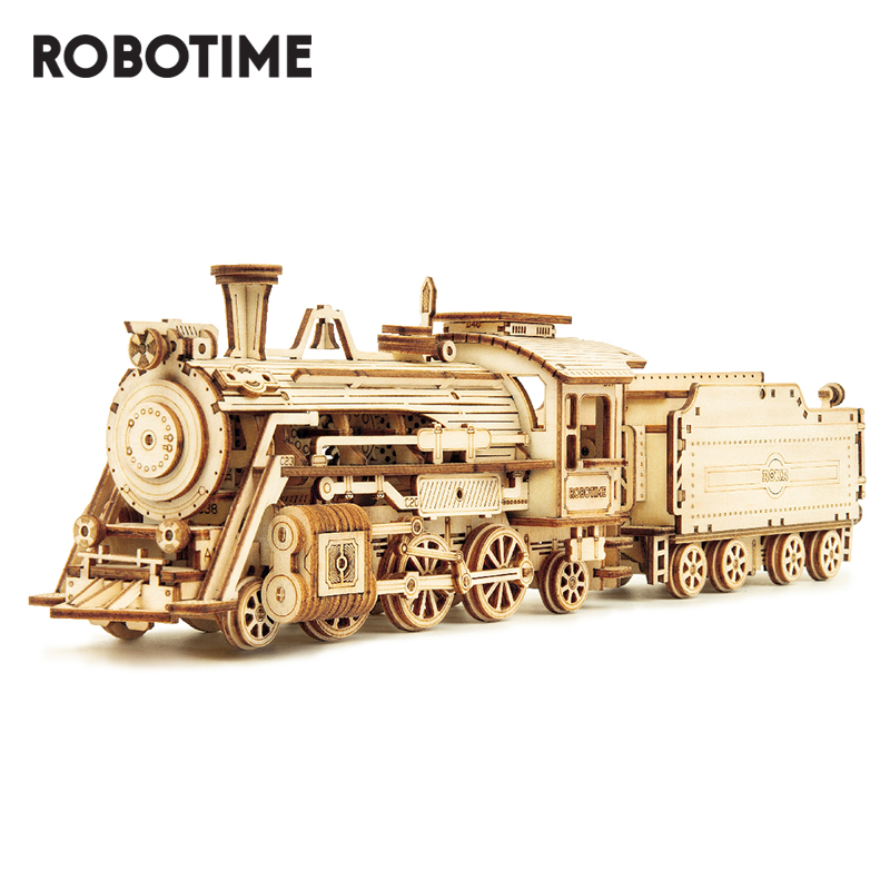 Robotime Wooden Puzzle Toy-Assembly Building-Kits Locomotive Model Kids for Children