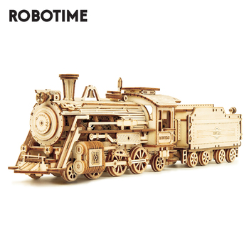 Robotime ROKR Train Model 3D Wooden Puzzle Toy Assembly Locomotive Model Building Kits for Children Kids Birthday Gift rokr diy 3d wooden puzzle train model clockwork gear drive locomotive assembly model building kit toys for children adult lk701