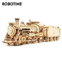 Robotime Zug Modell 3D Holz Puzzle Spielzeug Montage Lokomotive Modell Gebäude Kits für Kinder Kinder Geburtstag Geschenk